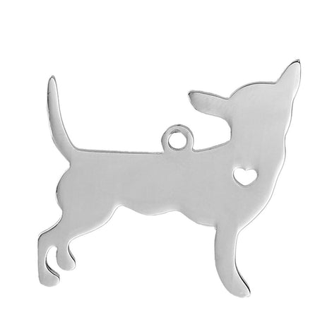 2 Stainless Steel CHIHUAHUA Charm Pendants, Dog Shape Charms, Design