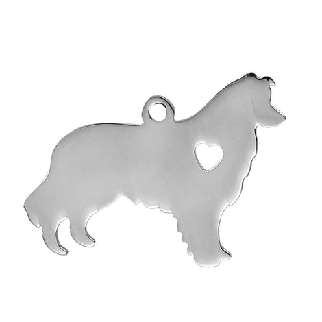 2 Stainless Steel Dog Charms, Alaskan Malamute, Collie, Sheltie Pendants, Design Metal Stamping Blanks 30x23mm, 15 gauge, chs2478