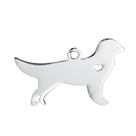 2 Stainless Steel GOLDEN RETRIEVER Charm Pendants, Dog Shape Charms, Design Metal Stamping Blanks 30x18mm, 15 gauge, chs2480