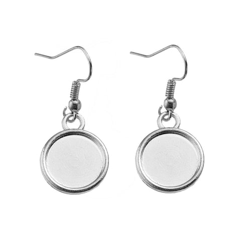 20 (10 pairs) silver tone cabochon bezel setting earrings, French hook wire components, fits 12mm round inside bezel tray, fin0585