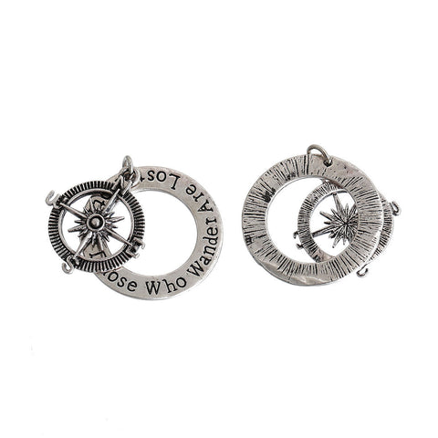 "1 Silver COMPASS Charm Pendants, ""Not All Those Who Wander Are Lost"" quote charm 2-part stamped pendant charms, chs2684"