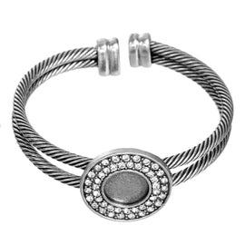 2 Antiqued Silver Bangle Cuff Bracelet Blanks, fits 11mm round cabochon, rhinestones surround bezel, fin0613