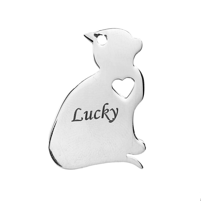 2 Stainless Steel CAT Charm Pendants, Dog Shape Charms, Design Metal Stamping Blanks 29x20mm, 15 gauge, chs2526