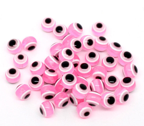 100 PINK Evil Eye Stripe Round Resin Spacer Beads 10mm, bac0339