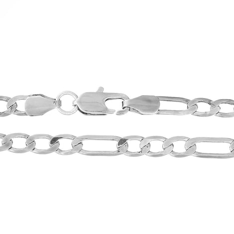 "2 Bright Silver Plated FIGARO LINK CHAIN Necklaces, lobster clasp, 21-5/8"" long fch0476"