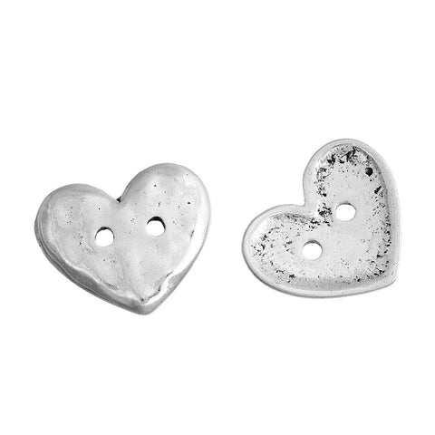 10 Hammered Silver Metal Round HEART Circle Buttons, Sew Through Buttons for Jewelry Making, Scrapbooking, Sewing, 19x16mm, but0256