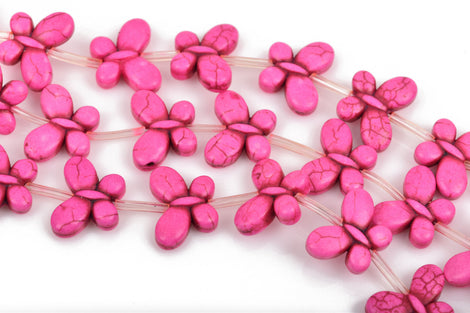 20x15mm PINK Howlite Butterfly Charm Beads, full strand, 20 beads, how0558