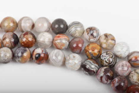 6mm PAINTED DESERT AGATE Round Beads, Natural Gemstone Beads, Banded colors rust white grey tan gold, full strand, about 65 beads, gag0282