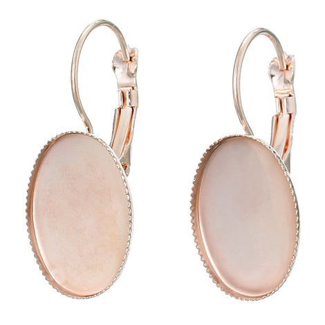 20 (10 pairs) rose gold plated cabochon bezel setting lever back earring components, fits 18x13mm OVAL inside tray fin0594