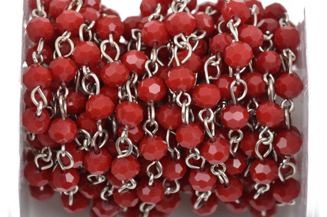 1 yard Dark Red Crystal Rosary Chain, silver, 6mm round faceted crystal beads, fch0488a