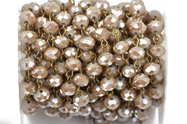 13 ft (4.33 yards) CARAMEL BROWN TAUPE Crystal Rondelle Rosary Chain, bronze, 8mm faceted rondelle glass beads, fch0493b