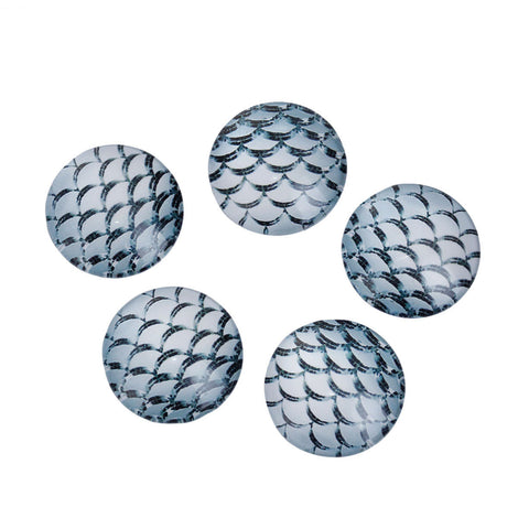 "10 MERMAID Fish Scales Glass Dome Cabochons, Sharkskin Grey, Round Glass Dome Seals Cabochons, 20mm  (about 3/4"" diameter) cab0475"