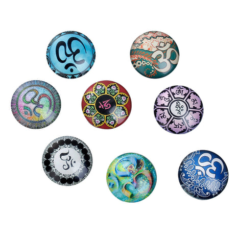 "10 CHAKRA OM Meditation Glass Dome Cabochons, Mixed Designs, Round Glass Dome Seals Cabochons, 25mm  (1"" diameter) cab0480"