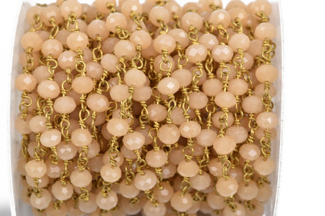 1 yard (3 feet) PASTEL PEACH Crystal Rondelle Rosary Bead Chain, gold double wrapped wire, 6mm faceted rondelle glass beads, fch0524a