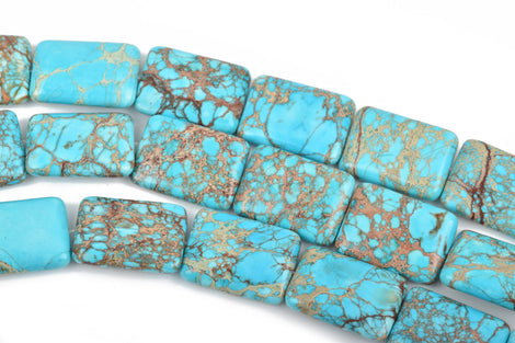26x18mm Turquoise Blue VARISCITE Beads, Smooth RECTANGLE Gemstone Beads, full strand, 16 beads per strand, gms0040