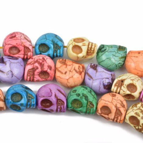 18mm Pastel Stone Skull Beads, light jewel tone colors, 18mm, full strand, 22 beads per strand, how0562