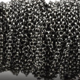1 yard Gunmetal Rolo Chain, Round Rolo Links are 3mm, fch0500a