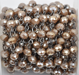 1 yard CARAMEL BROWN TAUPE Crystal Rondelle Rosary Chain, gunmetal, 6mm faceted rondelle glass beads, fch0531a
