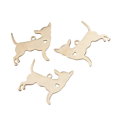 2 GOLD Stainless Steel CHIHUAHUA Charm Pendants, Dog Shape Charms, Design Metal Stamping Blanks 30x29mm, 15 gauge, chg0481