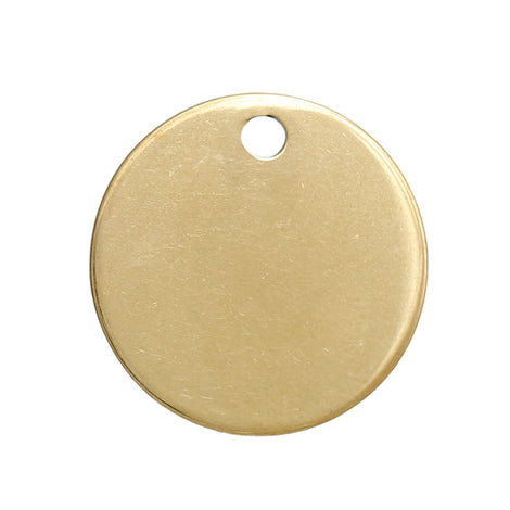 "5 GOLD Stainless Steel Metal Stamping Blanks Charms ( 20mm, 3/4"" ), ROUND Circle Disc, no hole, golf ball markers, 19 gauge, msb0447"