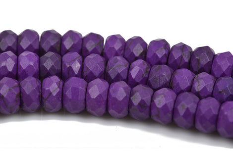 12mm PURPLE Howlite FACETED Rondelle Beads, trade beads, full strand, about 54 beads, how0604