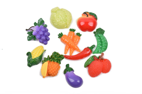 10 FOOD Cabochon flatback findings, fruit and vegetables, mixed random designs for decoden, kawaii, cute, cab0482