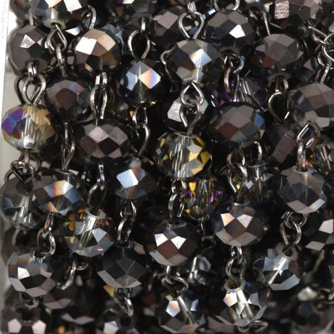 13 feet Smoky Grey AB Crystal Rondelle Rosary Chain, gunmetal, 8mm faceted rondelle glass beads, fch0508b