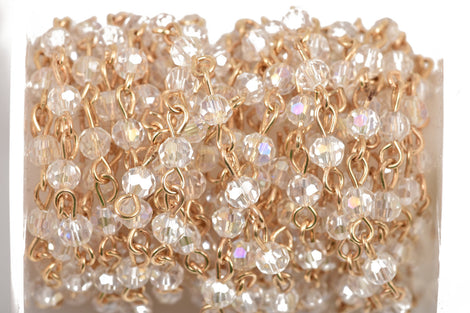 1 yard Clear AB Crystal Rosary Chain, bright gold, 4mm round faceted crystal bead chain, fch0511a