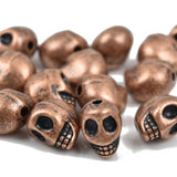 10 Copper Metal SKULL Beads, drilled top to bottom, 12mm, bme0402