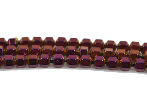 3mm Shiny Purple Iris HEMATITE HEXAGON Beads, Titanium coated gemstone beads, full strand, 150 beads, ghe0130