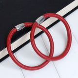 "2 RED Round Leather Single Wrap Bracelet Blanks, Magnet Clasp, 5mm Polyurethane Licorice Leather, 9"" long cor0122"