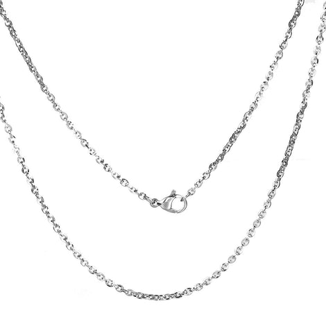 "1 STAINLESS STEEL Cable Link Chain Necklace with Lobster Clasp, 20"" long 3x2mm flat oval links, fch0554"
