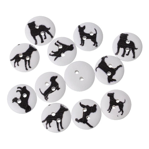 100 Wood DOG BUTTONS, Mixed black dog images on white painted wood, Buttons for Jewelry Making, Scrapbooking, Sewing, 15mm, but0261