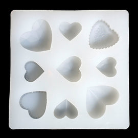 "HEART RESIN MOLD, Silicone Mold to make heart shaped pendants, reusable, 3-5/8"" square makes 9 heart shapes tol0693"