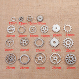 20 count Mixed Set STEAMPUNK GEAR Cog Silver Pewter Charm Pendants, faux watch parts, mixed styles and sizes, 12mm to 26mm, chs2790