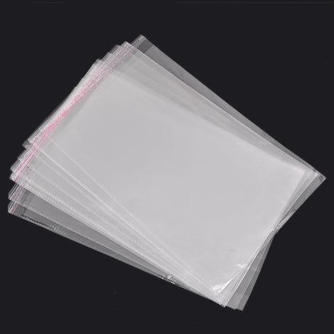 "50 Large Resealable Self-Sealing Bags, usable space 22x33cm, (8-3/8"" x 13"") bulk package cello bags, cellophane jewelry bags - bag0043"