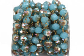 1 yard Turquoise Blue AB Crystal Rondelle Rosary Chain, bronze, 10mm faceted rondelle glass beads, fch0564a