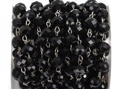 13 feet (4.33 yards) BLACK Crystal Rondelle Rosary Chain, silver, 10mm faceted rondelle glass beads, fch0565b