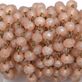 13 feet FROSTED CARAMEL PEACH Crystal Rondelle Rosary Chain, bronze, 8mm faceted rondelle glass beads, fch0569b