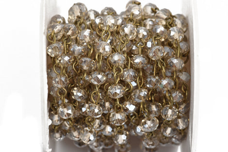 1 yard GOLDEN SHADOW Crystal Rondelle Rosary Chain, bronze, 6mm faceted rondelle glass beads, fch0570a
