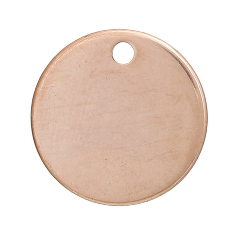 "5 ROSE GOLD Stainless Steel Metal Stamping Blanks Charms ( 15mm, 5/8"" ), Round Disc Tags, 19 gauge, msb0368"