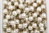 1 yard Ivory Off White Pearl Rosary Chain, bronze, 6mm round glass pearl beads, fch0416a