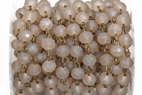 1 yard (3 feet) FROSTED GREY Crystal Rondelle Rosary Chain, bronze links, 8mm faceted rondelle glass beads, fch0576a