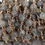 13 feet (4 meters) LABRADORITE GEMSTONE Rosary Chain, light gold links, 8mm round faceted gemstone beads, fch0578b
