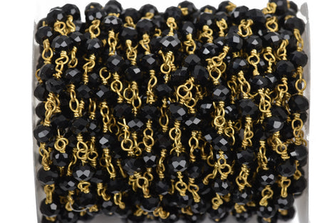 1 yard (3 feet) JET BLACK Crystal Rondelle Rosary Bead Chain, gold double wrapped wire, 6mm faceted rondelle glass beads, fch0526a