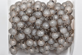 1 yard (3 feet) FROSTED GREY Crystal Rondelle Rosary Chain, gunmetal, 8mm faceted rondelle glass beads, fch0528a