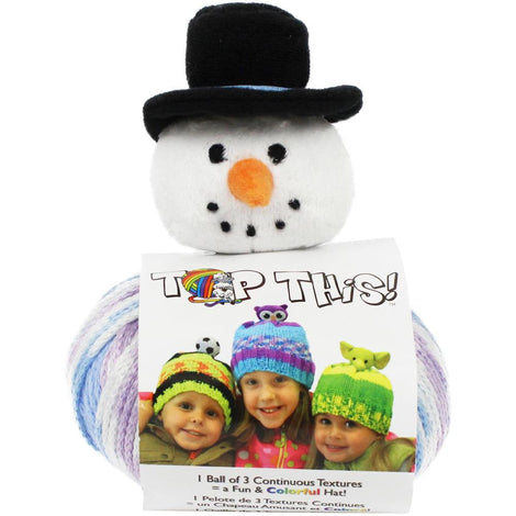 SNOWMAN Knitting Hat Kit, Beanie Hat Kit, includes yarn and plush stuffed character, Top This!™ knt0141