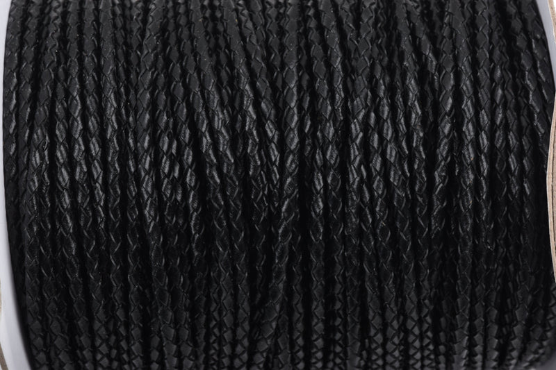 3mm BLACK Round Braided Licorice Leather, European Leather Cord, flexible, 1 yard (3 feet), Lth0006