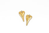 "5 HEART Charms, hammered gold metal, stylized elongated heart, 27x14mm, 1-1/8"" long chg0603"