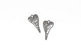 "5 HEART Charm Pendants, hammered gunmetal metal, stylized elongated heart, 27x14mm, 1-1/8"" long cho0212"